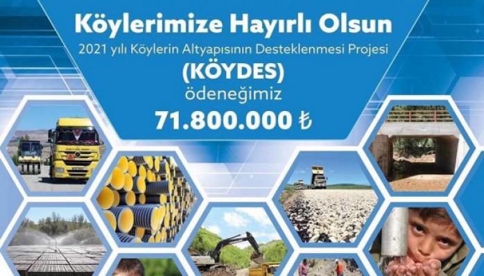 2021 yılı KÖYDES ödeneğimiz de Toplam 71.800.00 TL